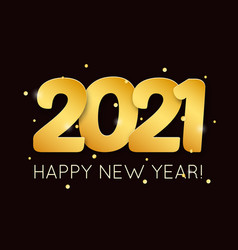 2021 happy new year with 3d realistic numbers vector image