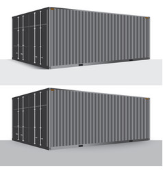 3d perspective gray metallic cargo container vector