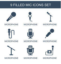9 mic icons vector