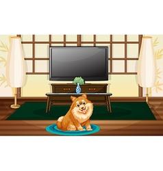A cute dog inside house vector