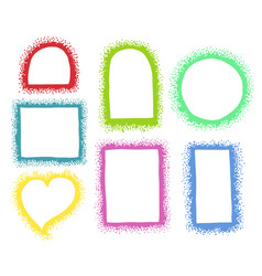 a set hand-drawn different frames made dots vector image