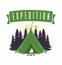 adventure mountain campfire camping logo vector image