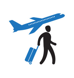 airport tourist walking with suitcase vector image