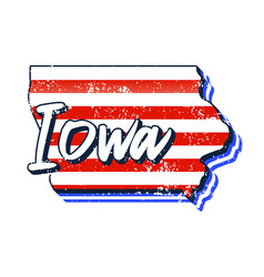 american flag in iowa state map grunge style vector image