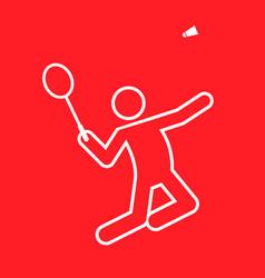 badminton sport figure outline symbol graphic vector image