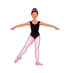 Beauty girl afro american ballerina dance pose vector