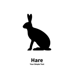 black silhouette of hare vector image