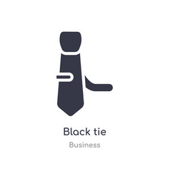 Black tie outline icon isolated line from vector