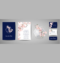 Botanical wedding invitation card save the date vector