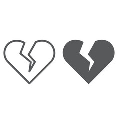 broken heart line and glyph icon valentine and vector image