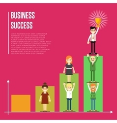 Business success banner with business peole vector