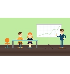 Businessman making presentation near whiteboard vector