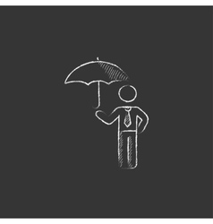 Businessman with umbrella Drawn in chalk icon vector image
