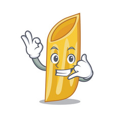 Call me penne pasta character cartoon vector