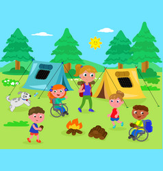 camping with disabled kids vector image