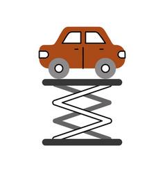 Cartoon car over self propelled lift service vector