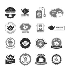 cartoon silhouette tea badges or labels set vector image