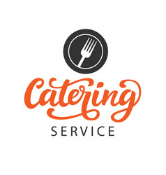 catering logo badge with calligraphy vector image