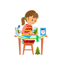 christmas holidays preparation of girl with card vector image