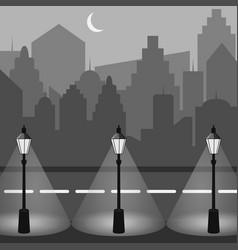 city skyline urban landscape night city silhouette vector image