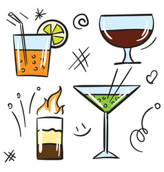 cocktail color icon set isolated on white vector image