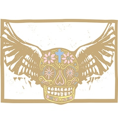 Color Mexican Winged Skull vector image