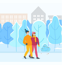 couple walking in winter city park man and woman vector image