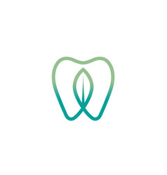 creative leaf teeth logo design symbol vector image