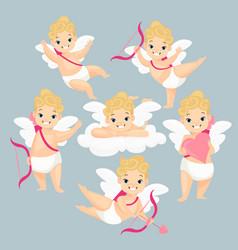 Cute baby amurs flat set vector