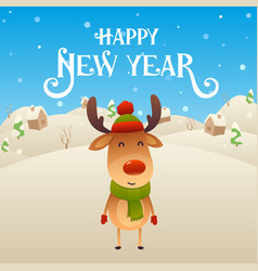 cute cartoon reindeer character happy new year vector image