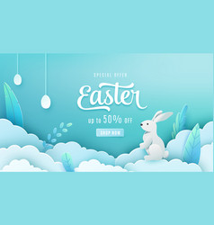 Easter sale banner background paper cut style vector