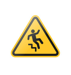 Fall down stairs warning sign vector