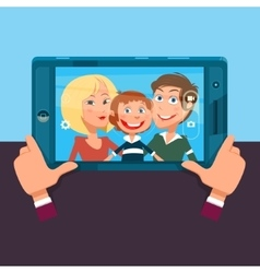 Family making selfie cartoon vector image