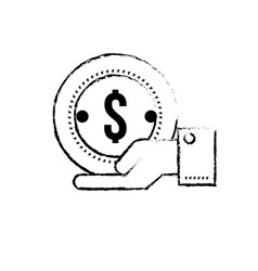 figure businessman with coin cash money in the vector image
