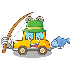 Fishing cartoon clockwork toy car for gift vector