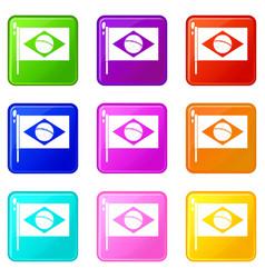 flag of brazil icons 9 set vector image