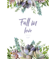Floral card design succulent flower plant vector