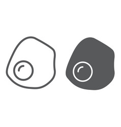 Fried egg line and glyph icon food and breakfast vector