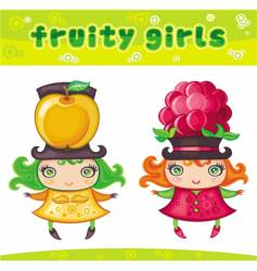 fruity girls series 5 apple raspberry vector image