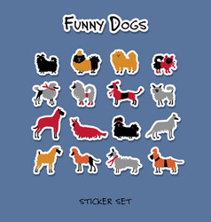 funny dogs stickers collection for your design vector image
