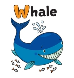 Funny little whale Alphabet W vector