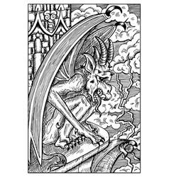 gargoyle engraved fantasy vector image