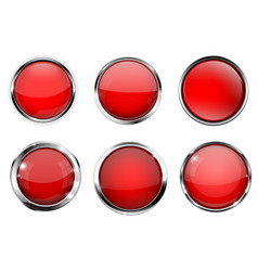 glass 3d buttons red round icons with chrome vector image