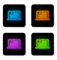 glowing neon laptop with resume icon isolated on vector image