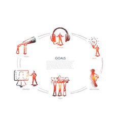 goals - vision support team strategy vector image