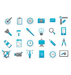 Graphic design gray blue icons set vector