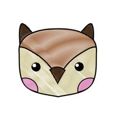 Grated cute owl head wild animal vector