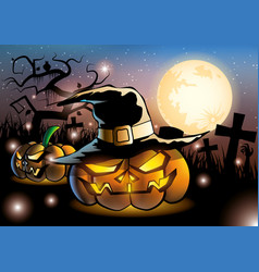 Halloween pumpkins on night fullmoon vector
