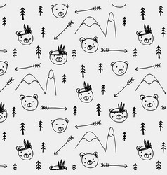 hand drawn cute bear tribal pattern background vector image