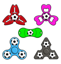 hand spinner toys with football ball flat vector image
